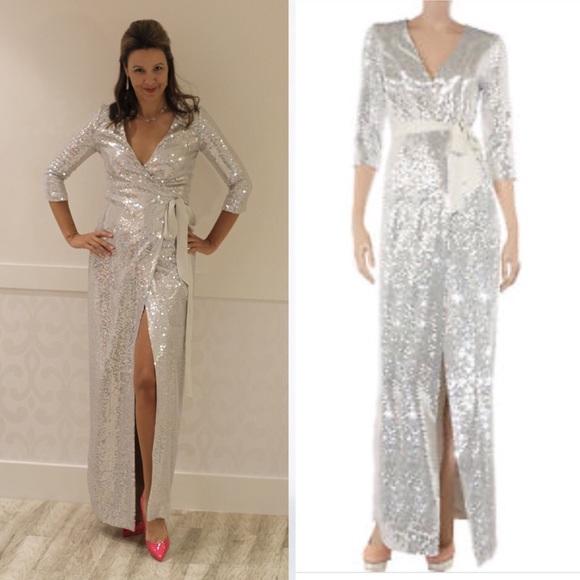 b9cb8684ba0587 Diane Von Furstenberg Dresses | Dvf Silver Sequin Wrap Gown | Poshmark